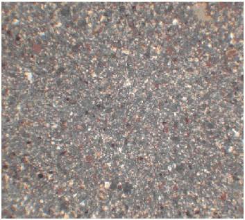 تصویری از مقطع نازک تهیه شده از نمونه معرف با بزرگنمایی 100 برابر که ذرات باریت با رنگ سفید در آن مشخص شده است