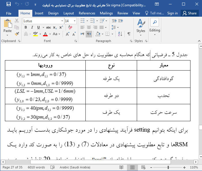 تعریف یک تابع مطلوبیت برای دستیابی به کیفیت Six sigma