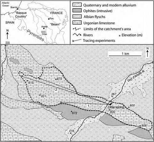 محل چشمه ها و نقشه زمین شناسی