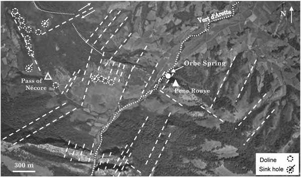 نقشه ویژگی های کارستی و خطواره شناخته شده در حوضه آبریز اورب