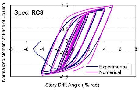 پاسخ های لرزه ای نمونه های RC3.