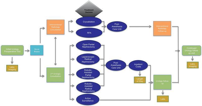 نقشه فرایند ماکروسکوپی، مراحل مهم درمان SRM را از ویزیت اورولوژی اولیه از پاسخ اول پس از مداخله خلاصه میسازد.