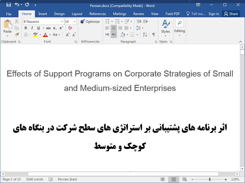 تاثیر برنامه های پشتیبانی بر استراتژی های شرکت در بنگاه های کوچک و متوسط (SMEs)