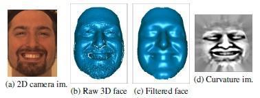 رنگ ، میانه انحناء سطح و تصاویر سطح سه بعدی برای موارد شدت کم ( سطح B ) و شدت بالا ( سطح C,D یا E ) واحد های عملکرد بخش بالا و پایین صورت با وضعیت های خنثی از فرد یکسان
