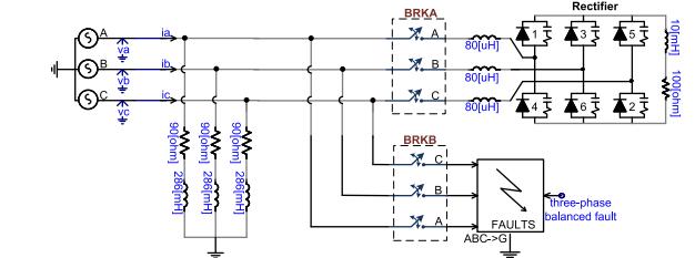 مدار قدرت سیستم تست شبیه سازی
