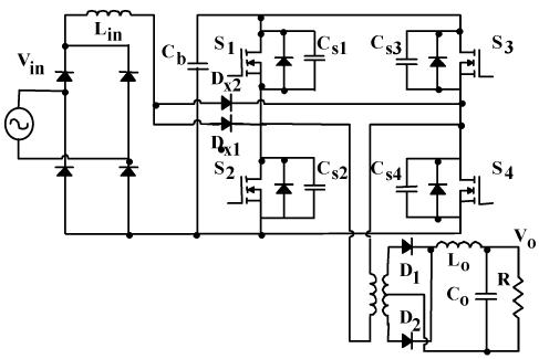 مبدل تمام پل PWM تک مرحله ای پیشنهاد شده در مرجع