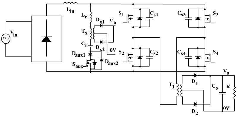 مبدل تمام پل PWM AC-DC تک مرحله ای جریانی ZVS با خازن لینک DC بزرگ