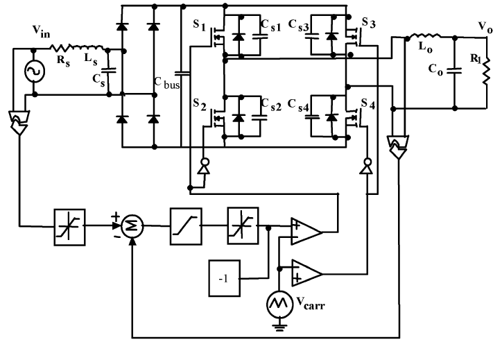 منبع تغذیه AC ذوزنقه ای تک فاز با ضریب توان نزدیک به واحد با حداقل خازن باس DC ; کنترل PWM با انتگرال ولتاژ خروجی مبتنی بر حامل مثلثی