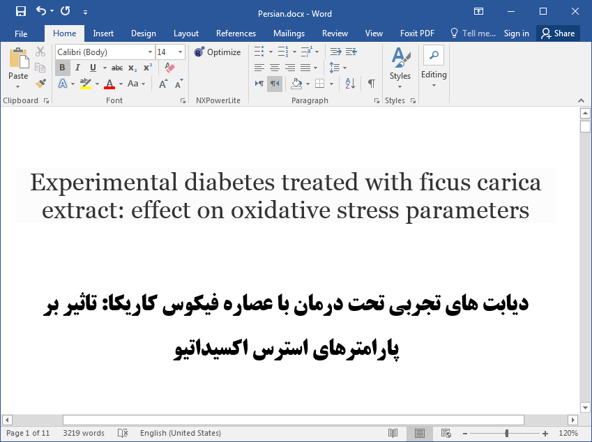 اثر دیابت تحت درمان با عصاره فیکوس کاریکا بر پارامترهای استرس اکسیداتیو