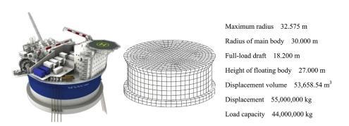 مدل هیدرودینامیکی و ابعاد اصلی FPSO استوانه ای