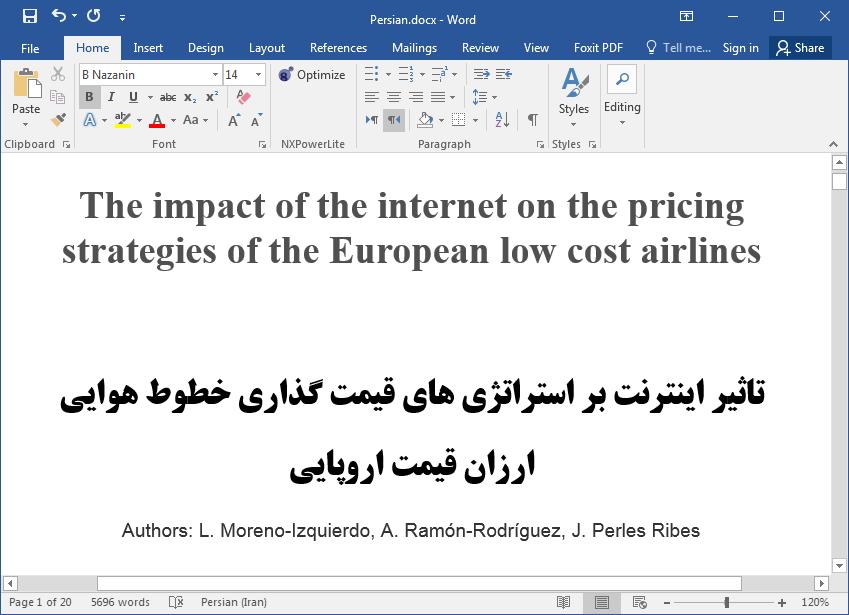 اثر اینترنت بر استراتژی های قیمت گذاری خطوط هوایی ارزان قیمت