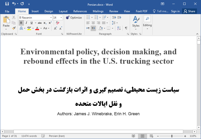 سیاست زیست محیطی، تصمیم گیری و اثرات بازگشت در حمل و نقل