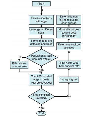 نمودار جریان الگوریتم بهینه سازی Cuckoo